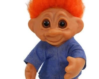 """1977 Vintage Orange Haired TROLL 9"""" Doll / Thomas Dam Denmark / Blue Felt Outfit / Brown Eyes / Articulated Arm / Collectible Vinyl Doll"""