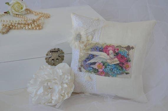 "Wedding Ring Bearer Pillow ""Dove"""