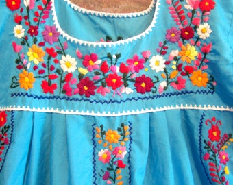 Child Mexican Dress, Girl Mexican dress, Blue Mexican dress, Cinco de Mayo, est. size 12