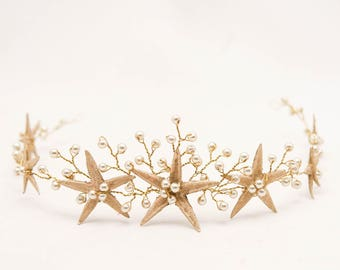 Gold Starfish Wedding Crown Beach Wedding Headpiece, Gold Beaded Mermaid Crown Star Fish Headband Golden Bridal Headpiece