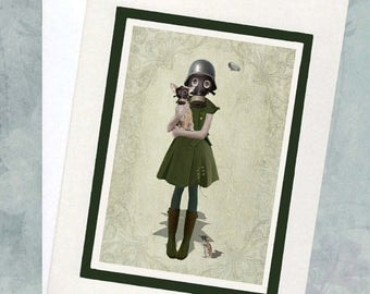 Soldier Girl Greeting Card  - Steampunk Greeting Card - Chihuahua Card - Blank Card - Grace