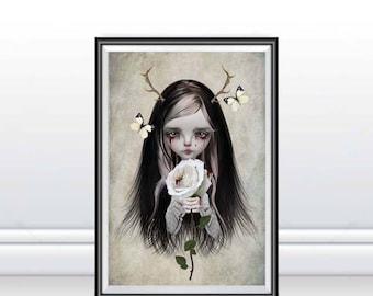 Fairytale Art Print - Fairytale Wall Decor - A3 Art Print - Rose Red