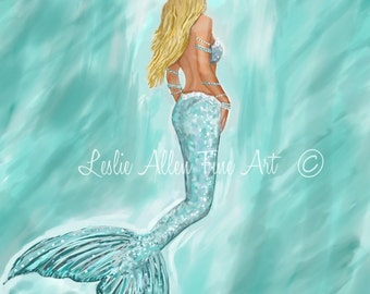 "Mermaid Fine Art Print Mermaid Painting Mermaid Decor Mermaids Beach Art Ocean Mermaid Decor  ""MERMAID AQUAMARINE"" Leslie Allen Fine Art"