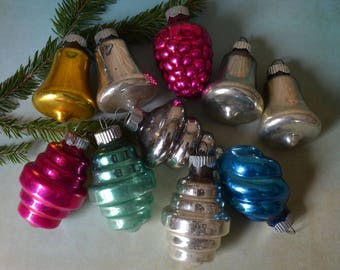 Vintage Shiny Brite Glass Christmas Ornaments Colorful Shapes