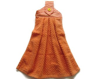 Tab Top Towel  - Orange Terry Hanging Kitchen Towel  - ZigZag Hanging Kitchen Towel - Fabric Topper Hanging Towel