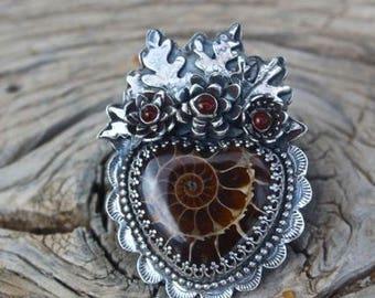 Ammonite Fossil Milagro Heart Ring