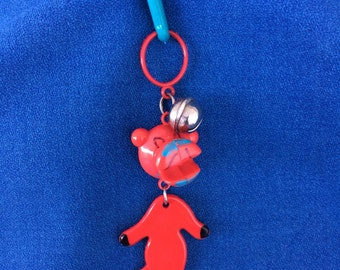 Vintage 80's Plastic Bell Clip Charm Red Panther Toy Necklace Jewelry Pendant So Totally Awesome!
