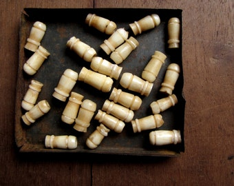 vintage carved bone beads in the shape of tapered tubes - rustic vintage beads - 26 beads