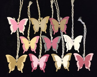 10 Pink & Gold Butterfly Paper Ornaments / Gift Tags / Decorations for Lupus!