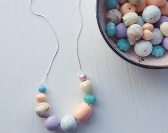 painting eggs necklace - vintage lucite - spring necklace - tulip peach aqua lavender