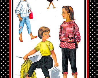 Vintage 1955-FAB Play Set-Sewing Pattern-Over Blouse-Front Apron Pockets-Bias Binding-Capri Pants-Contrast Cuff-Rooster Transfer-Size 6-Rare
