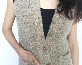 pathways -- vintage handmade fuzzy knit vest XS/S