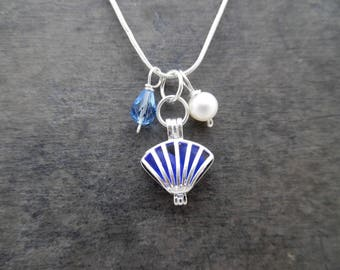 Shell Blue Sea Glass Necklace Locket Beach Glass Jewelry Charm