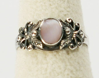Vintage Mother Of Pearl Ring, 925 Sterling Silver Pink Mother Of Pearl Ring Size 6