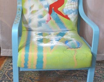 Upcycled 70s Office Chair Painted Chair Side Chair