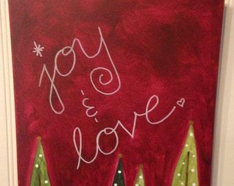Joy and Love Canvas painting Christmas trees Original folk art Home decor Artwork 11 x 14 Hand painted Holiday hostess gift present