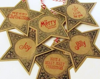 Star Christmas Gift Tags - Eco-Friendly Gift Tags - Handmade To From Tag - Kraft Card Stock Gift Tags - Kraft Paper - Set of 6