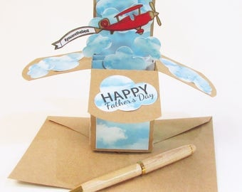Pop Up Birthday Card - Happy Father's Day Card - Masculine Birthday Card - Vintage Airplane - Gift - World's Best Dad