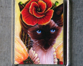 Poppy Cat Magnet, Summer Flower Fairy Siamese Cat Art Fridge Magnet
