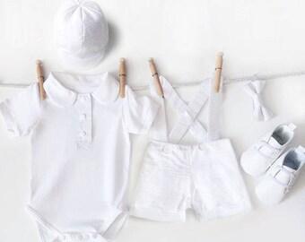 Baby Boy Christening Outfit, 5 Piece Boys Baptism Set, White Seersucker Suspender Shorts, Boys Christening, Baptismal Outfit, Baptism Hat