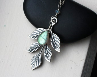 "Labradorite Necklace, Leaf Necklace, Sterling Silver - ""Lorien"" by CircesHouse on Etsy"
