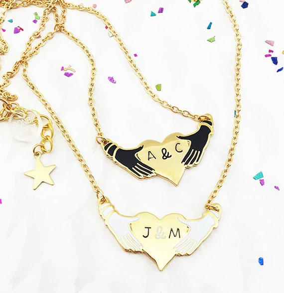 Hands and Heart Personalised Enamel Valentines/ Palentines Necklace