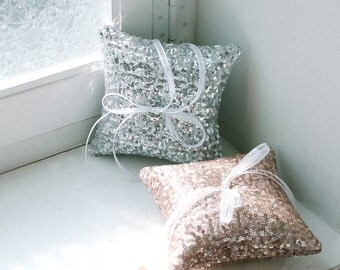 Sequin wedding ring pillow, glitter ring pillow in silver or rose gold - Twinkle