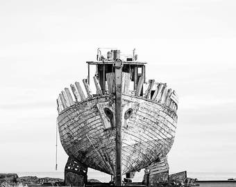 Decay Photography, Shipwreck, Black and White Photography, Iceland, Akranes, Abandoned Boat, Old Boat, Nautical, Icelandic, Nordic, Urbex