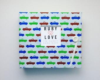 BABY BOOK   Modern Trucks Baby Book - Ruby Love Modern Baby Memory Book
