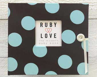 Chocolate Brown and Blue Polka Dot | BABY BOOK