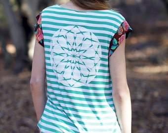 SALE yoga tshirt, striped tshirt, floral shirt, floral top, floral tshirt, sacred geometry clothing, yoga top, yoga shirt, green striped