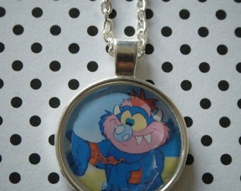 My Pet Monster retro cartoon round silver pendant necklace