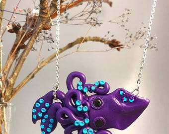 Lovable Purple Squid, Polymer Necklace