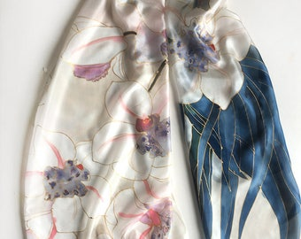 Rose Quartz Silk Scarf/ Hand painted shawl/ Orchids scarf, floral scarves handmade/ Pastel pink scarf painted/ Art to wear/ Gift for mother