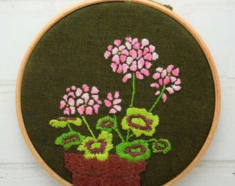 Hand Embroidery Pattern Geranium Hoop pdf file instant download