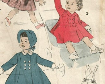 Vintage 50s Advance 8431 Toddler Girls Princess Seam Winter Coat, Bonnet and Suspender Pants Sewing Pattern Size 1