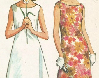 Vintage 60s McCalls 7815 UNCUT Misses Sleeveless Shift Dress Sewing Pattern Size 12 Bust 32