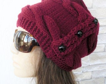 Women  Knit  Hat ,  Slouchy  Hat ,  Winter Hat , Gift for her  Burgundy  Hat Winter Accessories Winter  Fashion Women Fashion Accessories