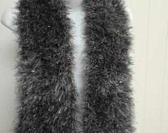 Stunning Fun Fur Knit Scarf in Silver & Grey Glitter - Cozy Soft and Warm  C#2