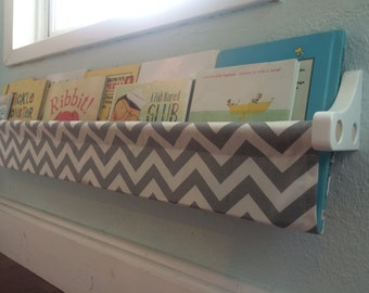 Book Sling and Wooden Brackets - Grey and White Chevron Wall Organizer - Choose your size