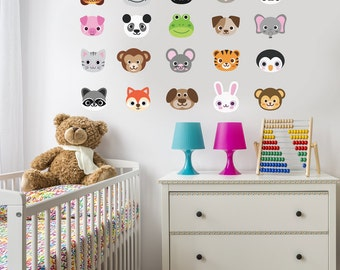 20 Animal Emoji Fabric Wall Decals, Large Size Repositionable, Reusable Matte Fabric Eco-friendly Wall Stickers