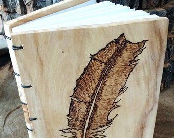 Wood Burned Feather Journal, Handmade Custom Journal or Sketchbook, Salvaged Wood Sketchbook or Journal