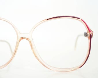 1980s Pink Eyeglasses Vintage Womens Glasses Red Oxblood Maroon Clear Transparent 80s Eighties Optical Frames Deadstock NOS New Old Stock