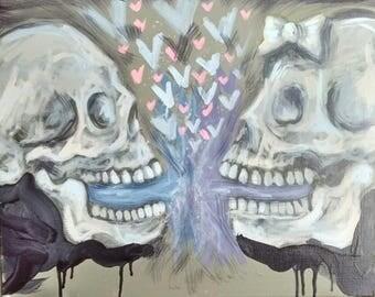 "Love vomit.  Acrylic painting on 16"" x 20"" canvas."
