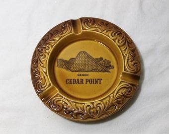 Vintage Souvenir Ashtray, Cedar Point, Gemini Roller Coaster, Sandusky, Ohio