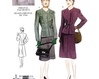 1940s Jacket & Skirt Pattern Vogue 2199 Collarless Jacket, Slim Skirt Suit Size 12