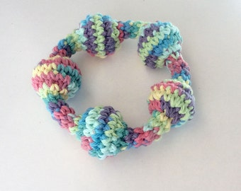Crochet Ring Toy- Grasping ring- Baby 1st toy, Baby shower gift