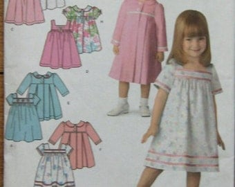 2007 simplicity pattern 3897 child girl toddler infant dress and coat sz 1/2-1-2-3-4