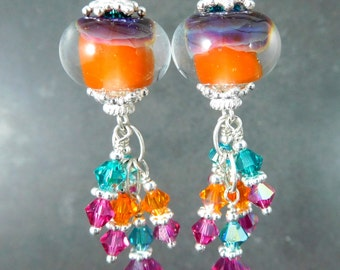 Bright Colorful Boho Dangle Earrings Orange Teal Pink Crystal Earrings Mango Dark Pink Boro Lampwork Glass Earrings Sterling Silver Earrings