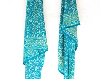 SALE - Teal Scarf Blue Chiffon Scarf Women's Fall Accessory Soft Blue Scarf - Batik Sarong Pareo - Short Beach Sarong - Gift for Her